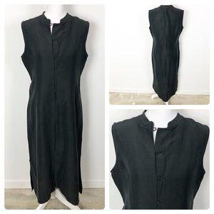 Eileen Fisher Japanese Button Shift Maxi Dress